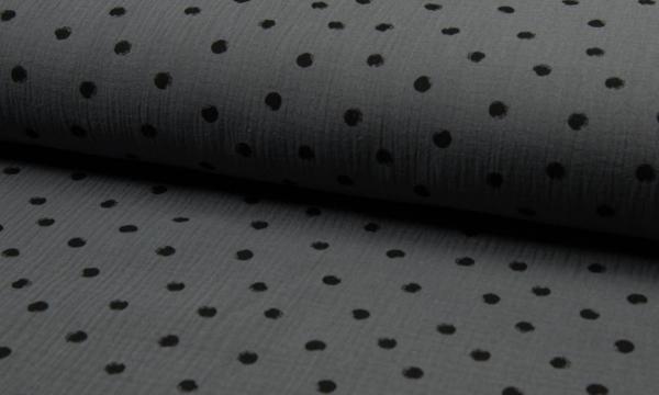 Musselin ~ Dots auf Dunkelgrau 1,20 m LETZTES Stück