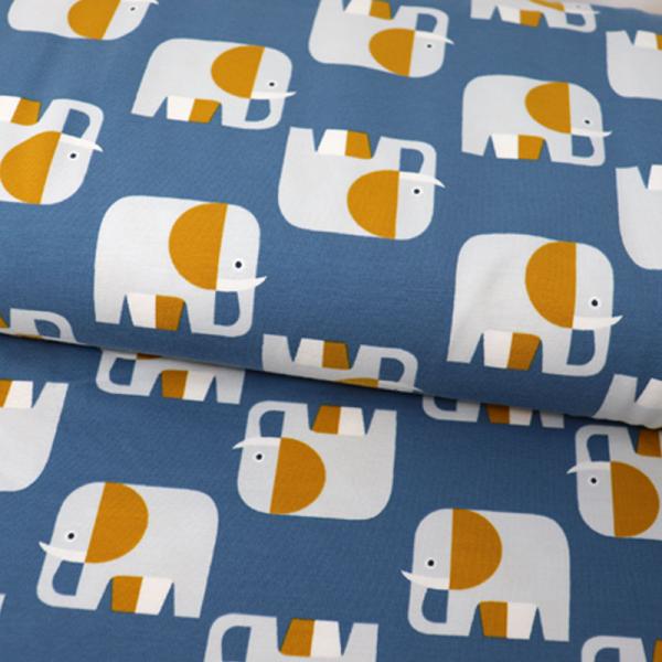 ORGANIC Jersey ~ Elefanten Retro Blau Ocker