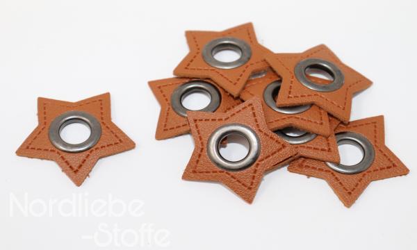 Ösen Patches ~ brauner Stern 11mm altsilber