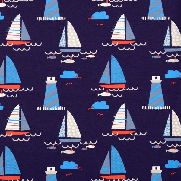 Jersey ~ Leuchtturm & Segelboote Blau Rot