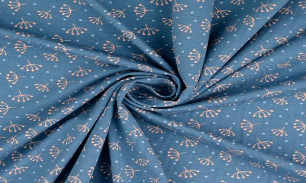 Jersey ~ Retroblume auf Blau 0,7m LETZTES Stück