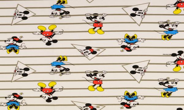 Lizenz Jersey ~ Minnie & Mickey Maus Streifen Cremeweiß