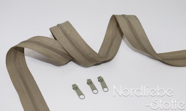 Endlosreißverschluss 3mm dunkelbeige incl. Zipper