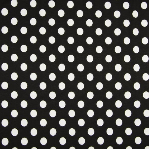Jersey ~ große Punkte Schwarz Weiß