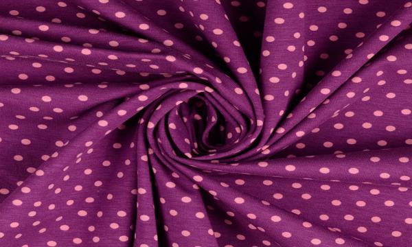 Jersey ~ rosa Punkte auf Violett