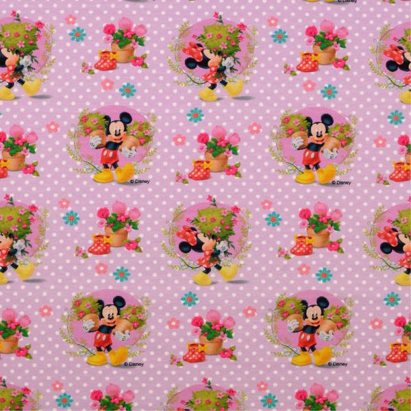 Lizenz Jersey ~ Minnie & Mickey Maus Flieder Blumen