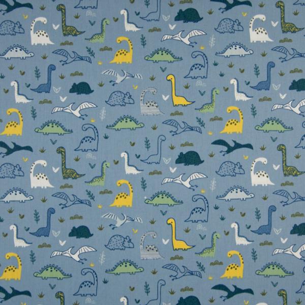 Baumwolle ~ Dinos Blau