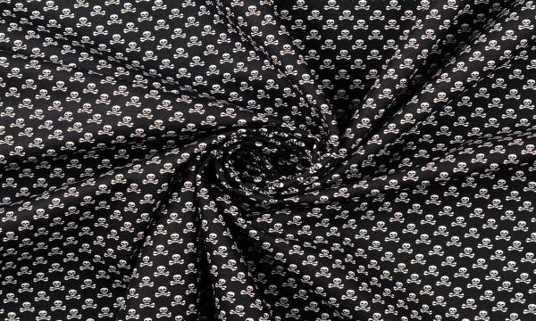 Baumwolle ~ Totenköpfe Mini Schwarz Weiß