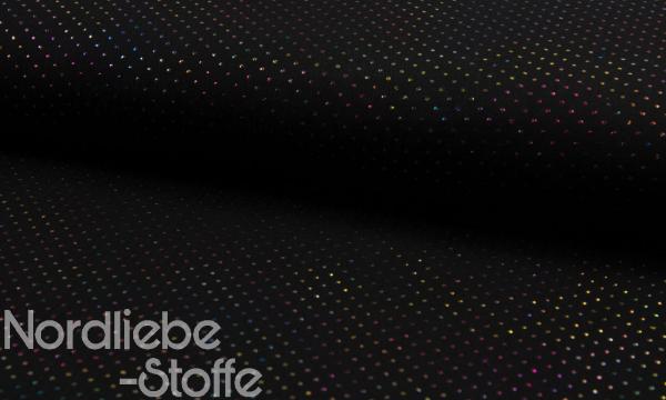 Musselin ~ 3D Multicolor Pünktchen auf Schwarz