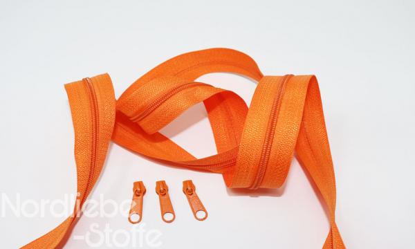 Endlosreißverschluss 3mm orange incl. Zipper