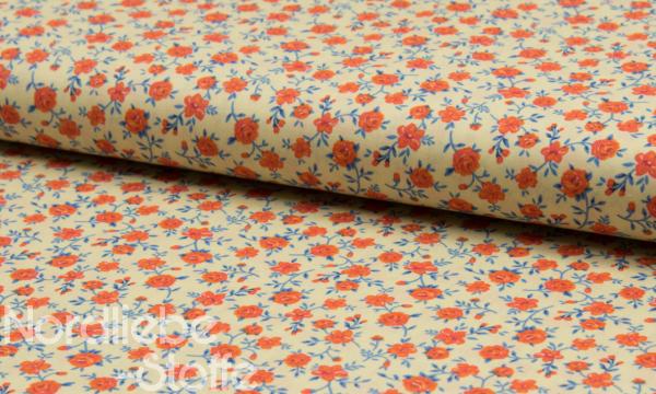 Mercerisierte Baumwolle ~ kleine Rosen Vanille