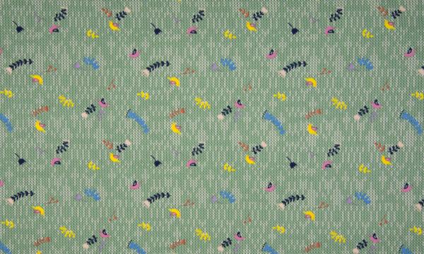 Jersey ~ Strickoptik kleine Vögelchen Oldgreen