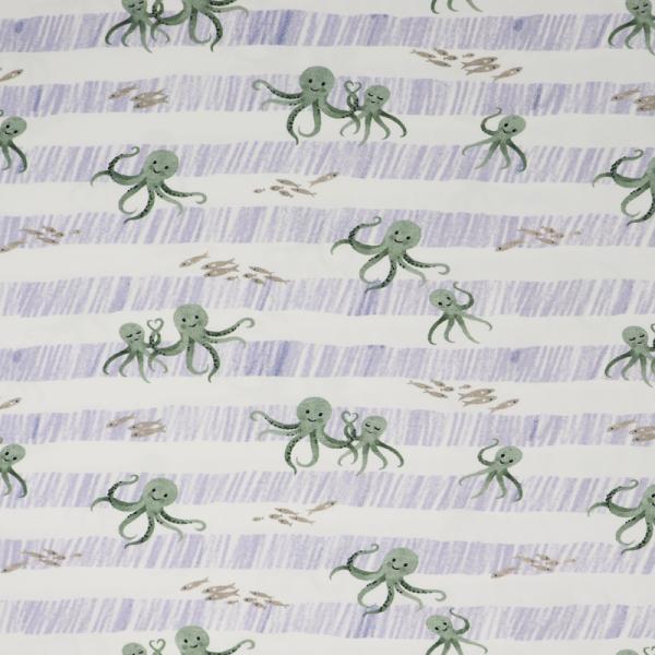 SWAFING Nautical Baby Jersey ~ grüne Kraken auf blauen Streifen Offwhite