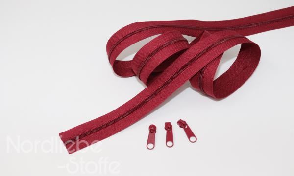 Endlosreißverschluss 3mm bordeaux incl. Zipper