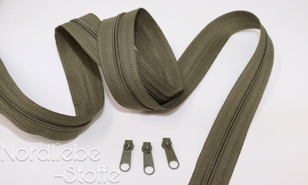 Endlosreißverschluss 3mm olive incl. Zipper