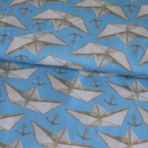 Jersey ~ Papierboot & Anker auf Blau