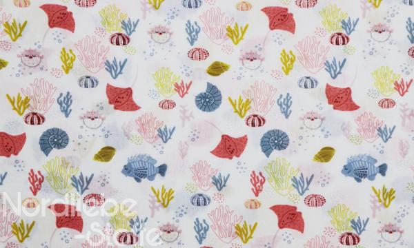 GOTS Organic Baumwolle ~ Unterwasserwelt Rochen & Korallen