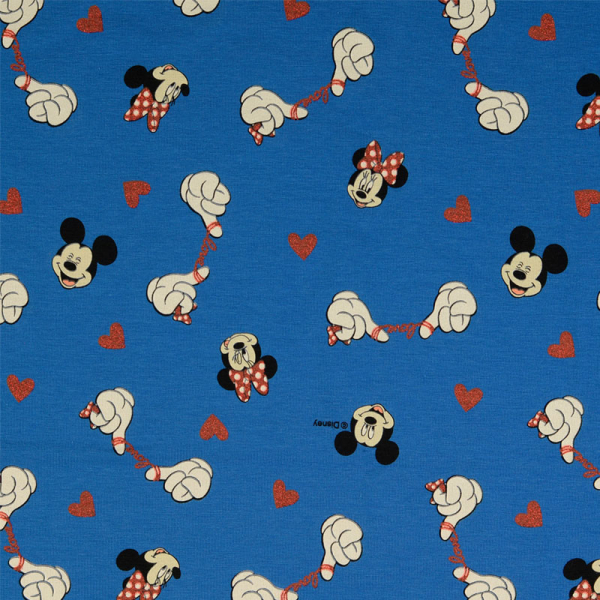 Lizenz Walt Disney Jersey ~ Minnie Mouse & Mickey Mouse Glitzer