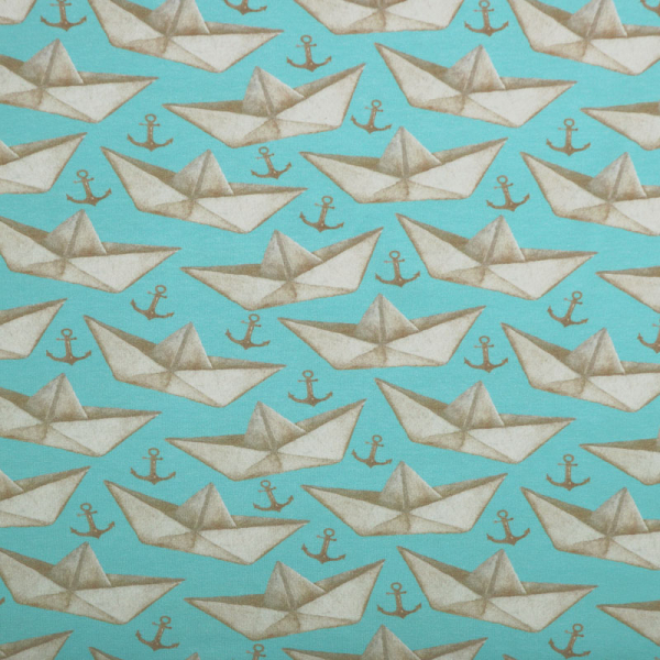 Jersey ~ Schiffchen & Anker auf Blau