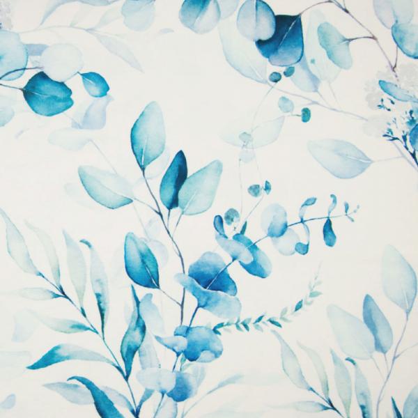 ORGANIC French Terry ~ Blätter & Blumen Blau