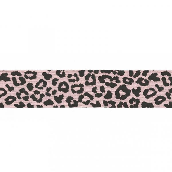 3 Meter Jersey Schrägband 20 mm Leopard Hellrosa