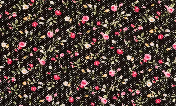 Baumwolle ~ kleine Rosen & Punkte Schwarz