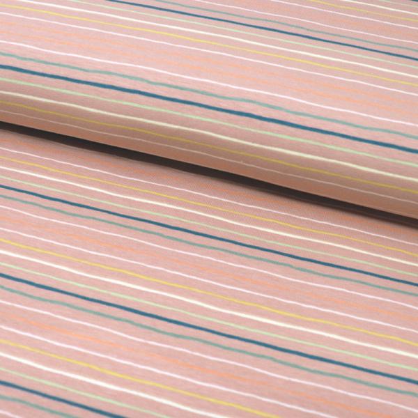 Jersey ~ bunte Streifen auf Lachsrosa