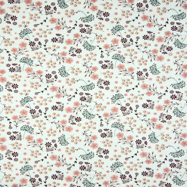 Jersey ~ bunte Blumen & Blüten auf Ecru