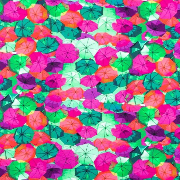 Digital Jersey ~ Regenschirme Fuchsia