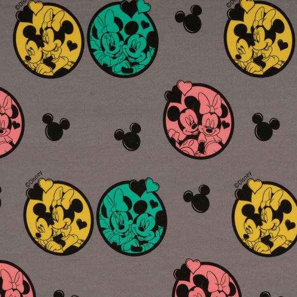 Lizenz Walt Disney Jersey ~ Minnie Mouse & Mickey Mouse verliebt Grau