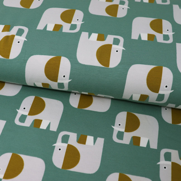 ORGANIC Jersey ~ Elefanten Retro Mint Ocker