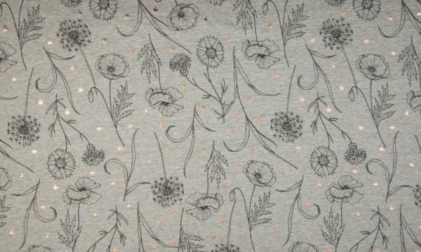 Kuschelsweat ~ Pusteblumen mit Foil Print Grau Melange