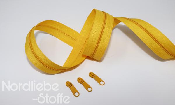 Endlosreißverschluss 3mm gelb incl. Zipper