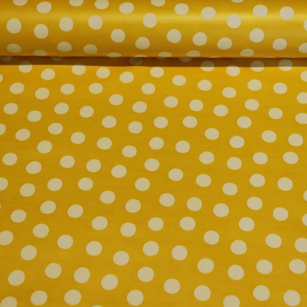 beschichtete Baumwolle ~ weiße Punkte auf Gelb