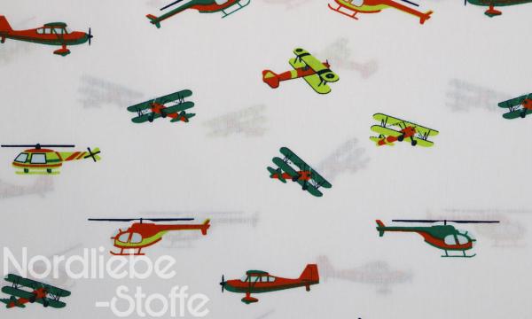 Baumwolle ~ Flugzeuge auf weiß