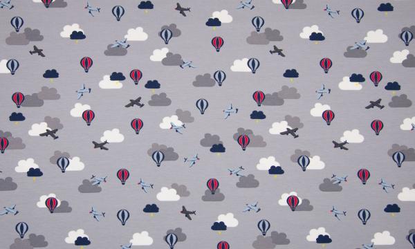 Jersey ~ Wolken Heißluftballon auf Grau 1 m LETZTES Stück