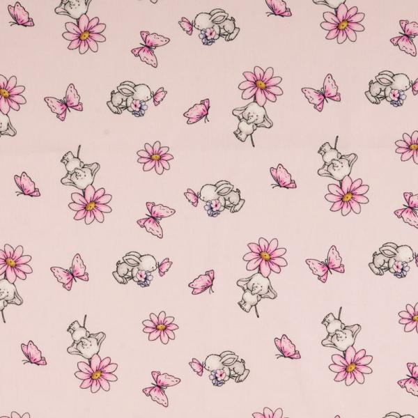 Baumwolle ~ süße Elefanten & Schmetterlinge Rosa