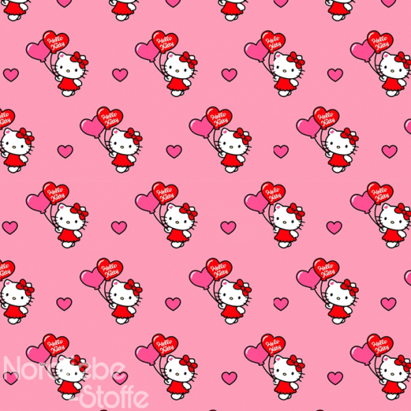 Lizenz Baumwolle ~ Hello Kitty Herzballon