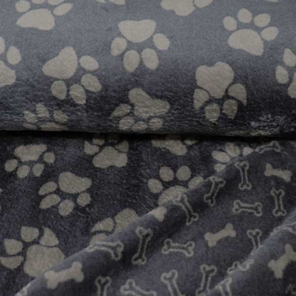 Kuschelfleece ~ Doubleface Hundepfoten & Knochen