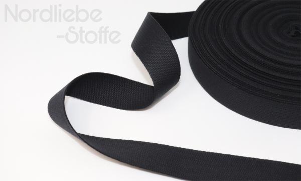 Baumwoll Gurtband 25mm schwarz