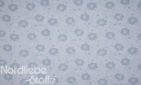 ORGANIC Jersey ~ große Pusteblumen Blau Melange