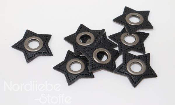 Ösen Patches ~ schwarzer Stern 8mm altsilber