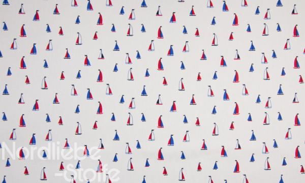 Baumwolle ~ kleine Segelboote auf Weiß