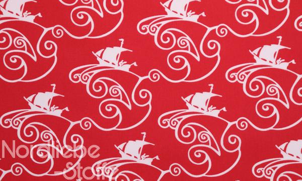 Baumwolle ~ Schiff Ahoi rot weiß