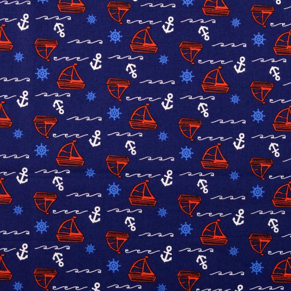 Baumwolle ~ Anker & Segelboote Blau Rot