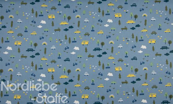 Baumwolle ~ Auto´s & Bäume auf Jeansblau
