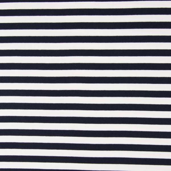 French Terry ~ Streifen Navy - Weiß