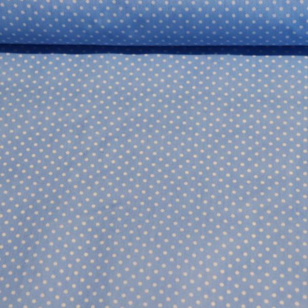 beschichtete Baumwolle ~ kleine weiße Punkte auf Hellblau