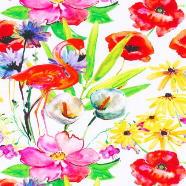 French Terry ~ Flamingo & Blumen