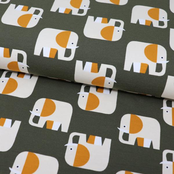 ORGANIC Jersey ~ Elefanten Retro Dunkelgrün Ocker